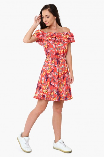 MAX Floral Print Off-Shoulder Fit And Flare Dress