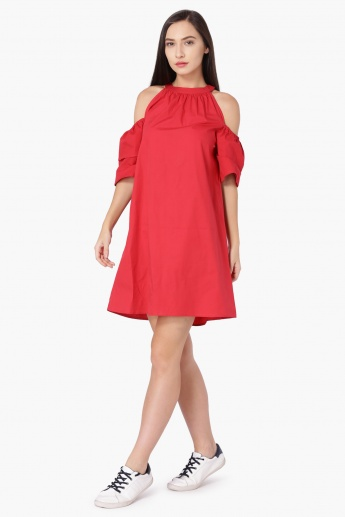 MAX Solid Layered Cold Shoulder Shift Dress