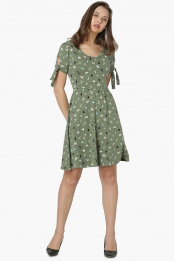 MAX Printed Half Sleeves Fit And Flare Dress