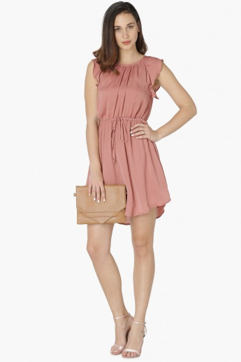 MAX Solid Ruffle Sleeves Fit And Flared Dress