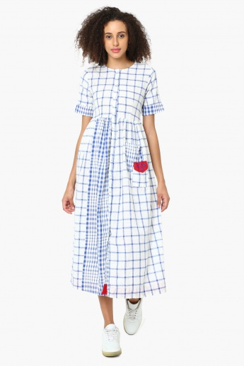 MAX Checked Buttoned Gathered Midi Dress