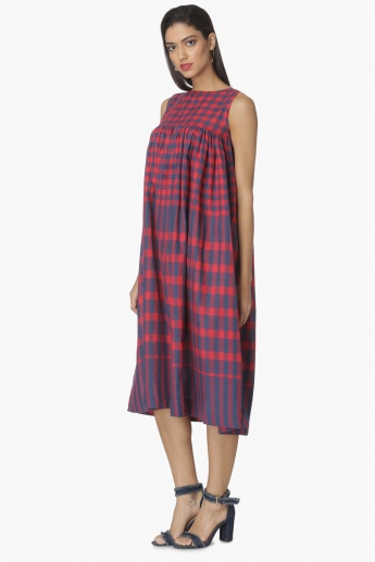 MAX Checked Gathered Empire-Line Midi Dress