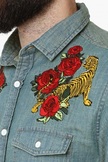 MAX Embroidered Detail Flap Pockets Shirt
