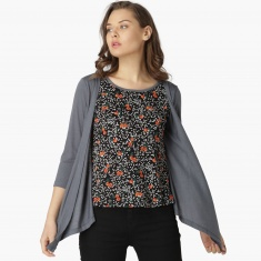 f76196bc20c MAX Floral Print Layered Shrug And T-Shirt