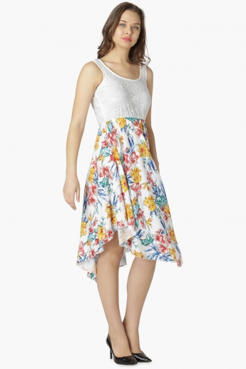 MAX Lace Bodice Floral Print Fit And Flare Dress