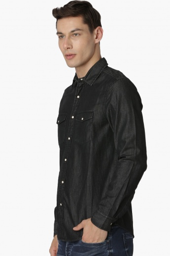 MAX Dark Shade Flap Pockets Denim Shirt