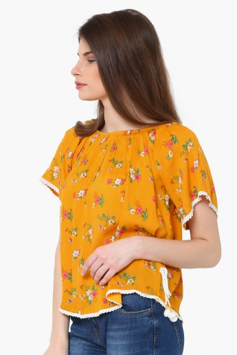ccba2a504ef6 MAX Striped Floral Print Tie-Up Waist Off-Shoulder Top | Yellow ...