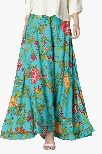 MAX Floral Print Flared Skirt