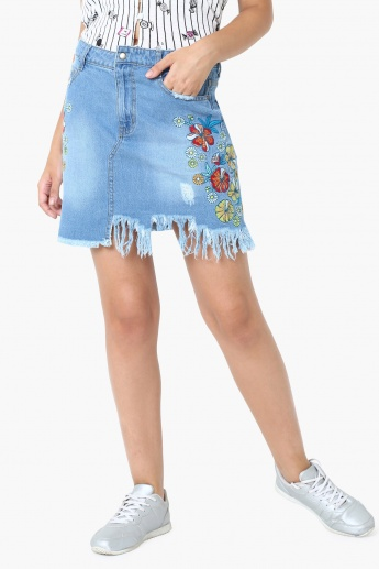3432fbc0 MAX Embroidered Detail Frayed Hem Denim Skirt | Blue | Embroidered
