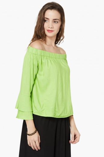 aafe9741476bc MAX Sequin Detail Off-Shoulder Top With Flared Sleeves