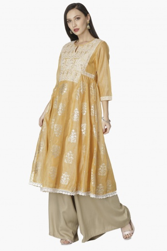 MAX Embroidered Crochet Hem Flared Kurta