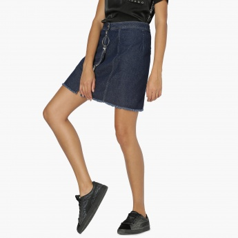 MAX Tape Detail Frayed Hem Denim Skirt