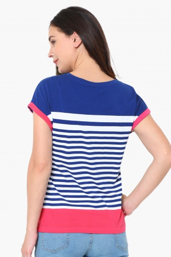 MAX Striped Upturned Sleeve T-Shirt