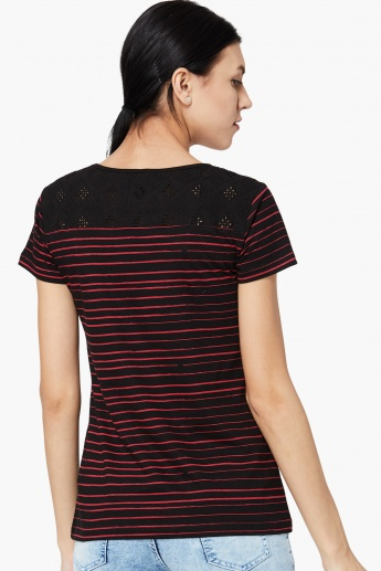 MAX Lace Panel Striped T-shirt