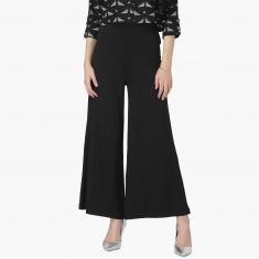 MAX Solid High-Rise Flared Palazzos