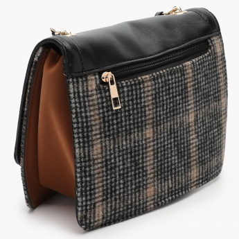 MAX Woven Texture Flap Closure Sling Bag