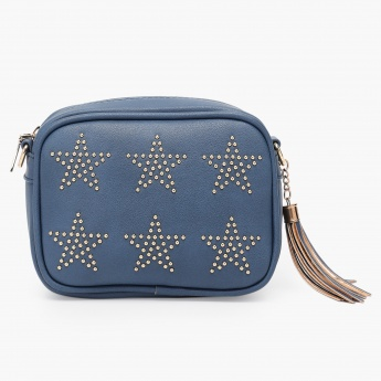 MAX Studded Zip Closure Sling Bag