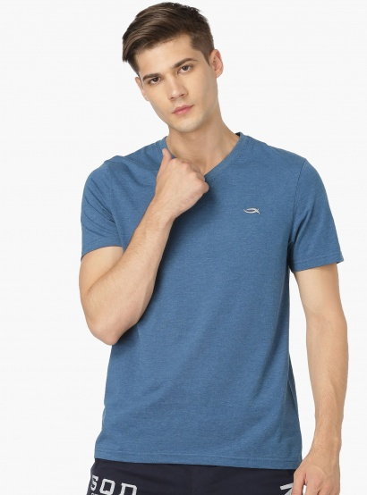 MAX Solid V-Neck T-Shirt With Half Sleeves thumbnail
