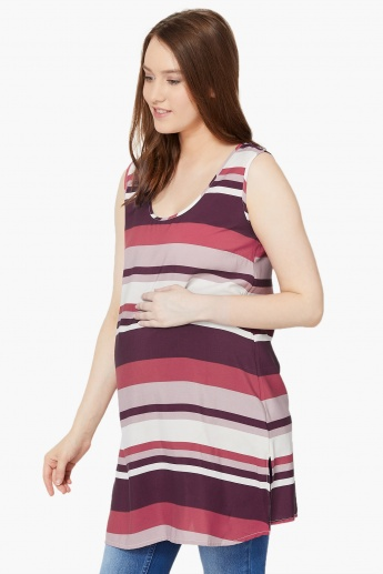 MAX Striped Sleeveless Curved Hem Maternity Top