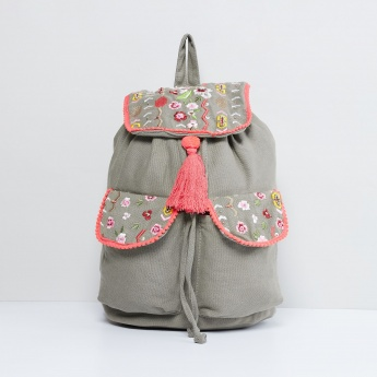MAX Embroidered Tassel Detail Backpack