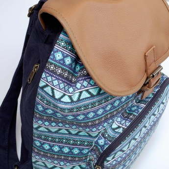 MAX Aztec Printed Flap Closure Backpack