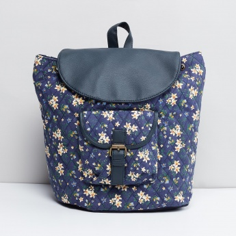 MAX Floral Print Quilted Flap Closure Backpack