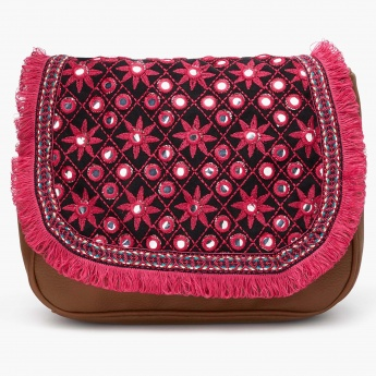 MAX Embroidered Mirror-Work Sling Bag
