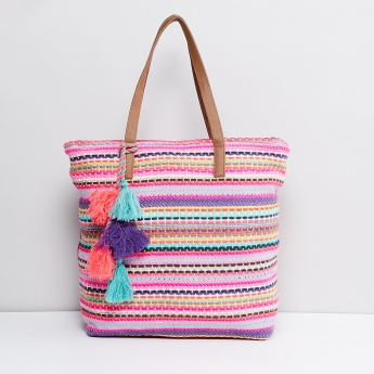 MAX Tasselled Embroidered Tote Bag