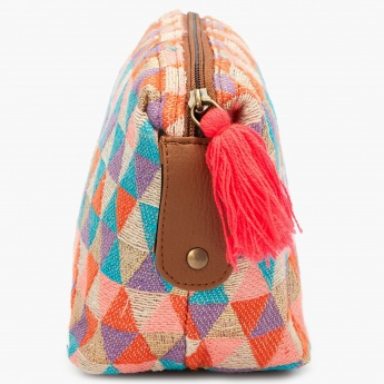 MAX Geometrical Woven Textured Jute-Work Pouch