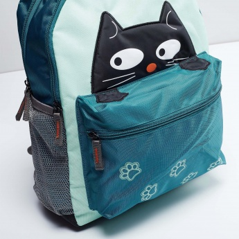 MAX Kitty Applique Zip Closure Backpack