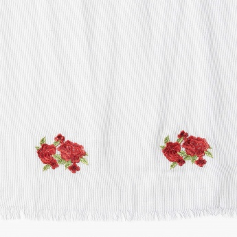 MAX Floral Embroidery Striped Scarf