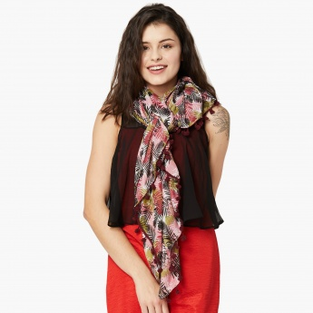 MAX Tropical Print Bobble Trimmed Scarf