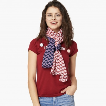 MAX Printed Two-Tone Scarf