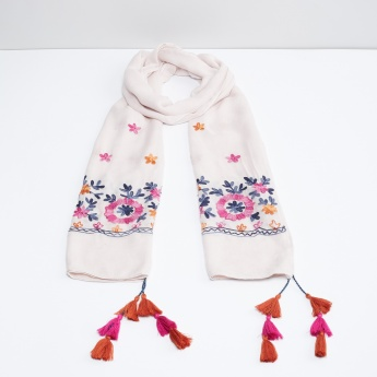MAX Floral Embroidery Scarf with Tassels