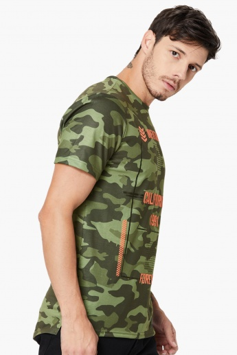 MAX Camouflage Print Crew Neck T-Shirt