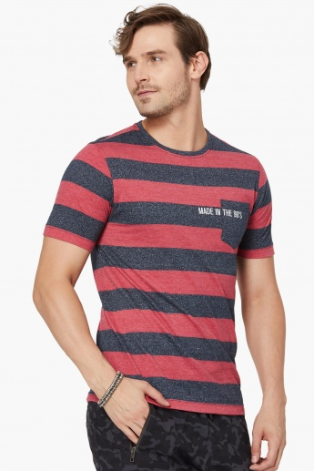 MAX Striped Printed Crew Neck T-Shirt