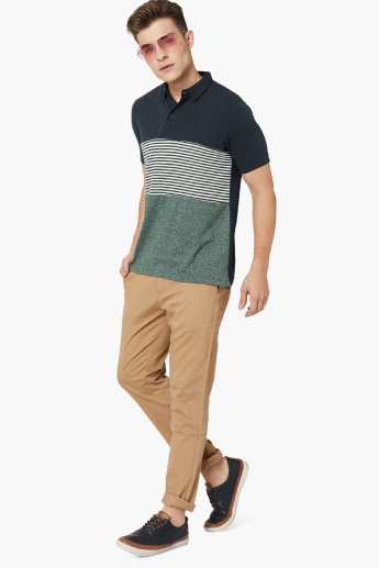 MAX Stripes Panelled Colour Blocked Polo Neck T-Shirt