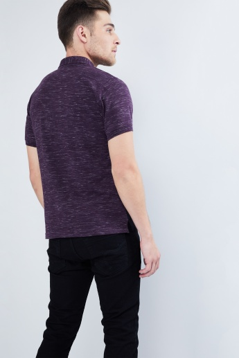 MAX Slub Knit Panelled Polo T-shirt
