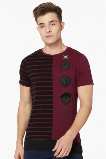 MAX Printed Patchworked Crew Neck T-Shirt