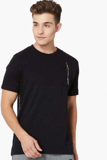 MAX Printed Tape Detail Crew Neck T-Shirt
