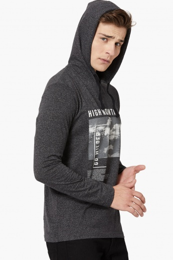 MAX Typography Print Hooded Full Sleeve T-shirt