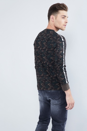 MAX Printed Tape Detail Full Sleeves T-Shirt