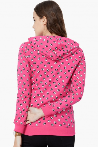 MAX Panda Print Zip-Up Hooded Sweatshirt