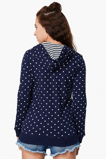 MAX Polka Dot Print Zip-Up Hooded Sweatshirt