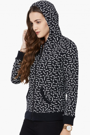 MAX Printed Zip-Up Hooded Sweatshirt