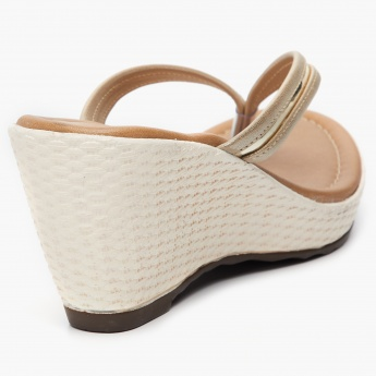 MAX Shimmery Thong-Strap Wedges
