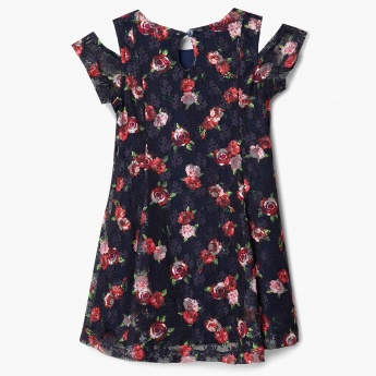 MAX Floral Print Cold Shoulder Dress