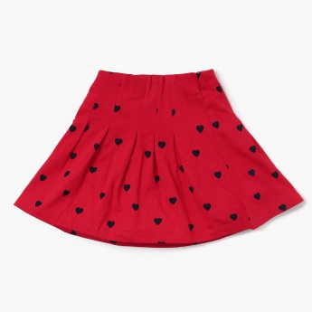 MAX Printed Pleated Flared Skirt