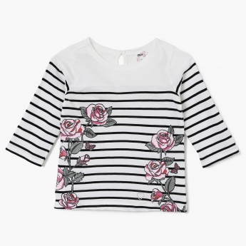 MAX Striped Floral Printed Full Sleeves Top