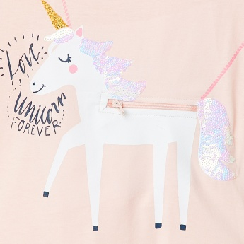 MAX Unicorn Sequined Cold Shoulder Top